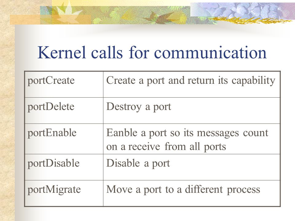 Kernel calls for communication portCreateCreate a port and return its capability portDeleteDestroy a port portEnableEanble a port so its messages coun
