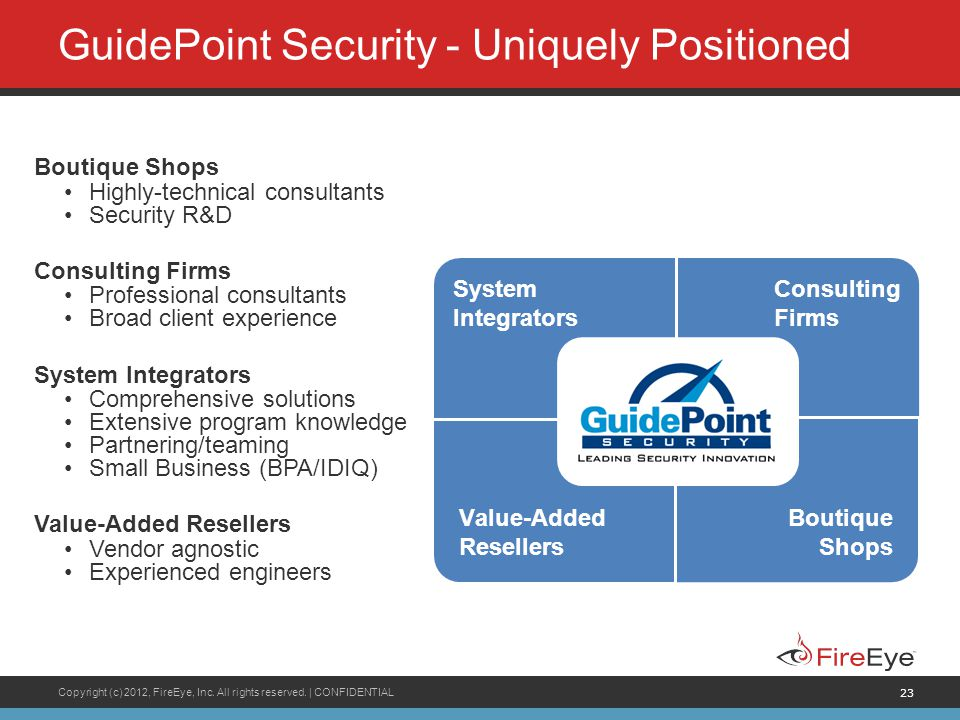 Copyright (c) 2012, FireEye, Inc. All rights reserved.   CONFIDENTIAL 23 GuidePoint Security - Uniquely Positioned Boutique Shops Highly-technical con