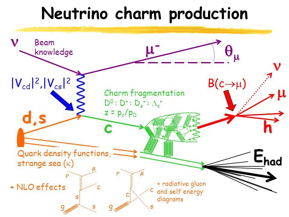 Neutrino charm productiond,s c E had ----  h  Beam knowledge |V cd | 2,|V cs | 2 Quark density functions, strange sea (  ) Charm fragmentation D 0 : D + : D s + :  c + z = p c /p D B(c  ) + NLO effects g  s c c c sg  s + radiative gluon and self energy diagrams