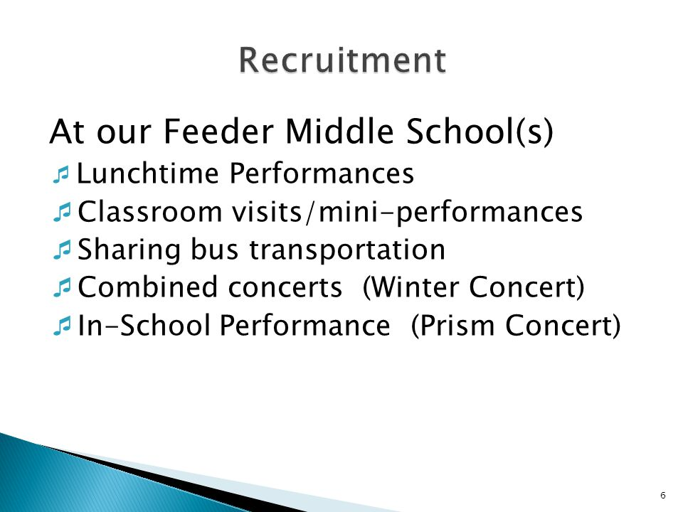 At our Feeder Middle School(s)  Lunchtime Performances  Classroom visits/mini-performances  Sharing bus transportation  Combined concerts (Winter Concert)  In-School Performance (Prism Concert) 6