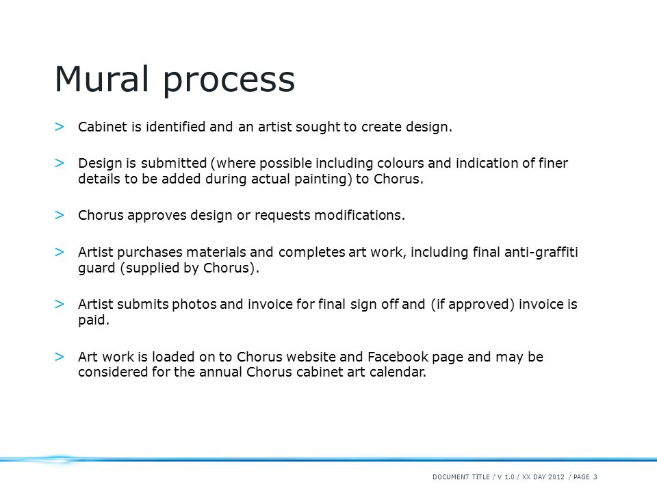 / PAGE 3 Mural process > Cabinet is identified and an artist sought to create design.