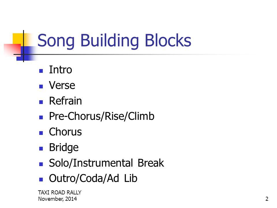 TAXI ROAD RALLY November, 20142 Song Building Blocks Intro Verse Refrain Pre-Chorus/Rise/Climb Chorus Bridge Solo/Instrumental Break Outro/Coda/Ad Lib
