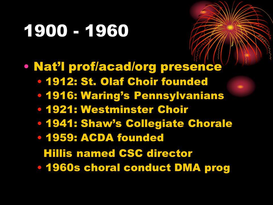 1900 - 1960 Nat'l prof/acad/org presence 1912: St.