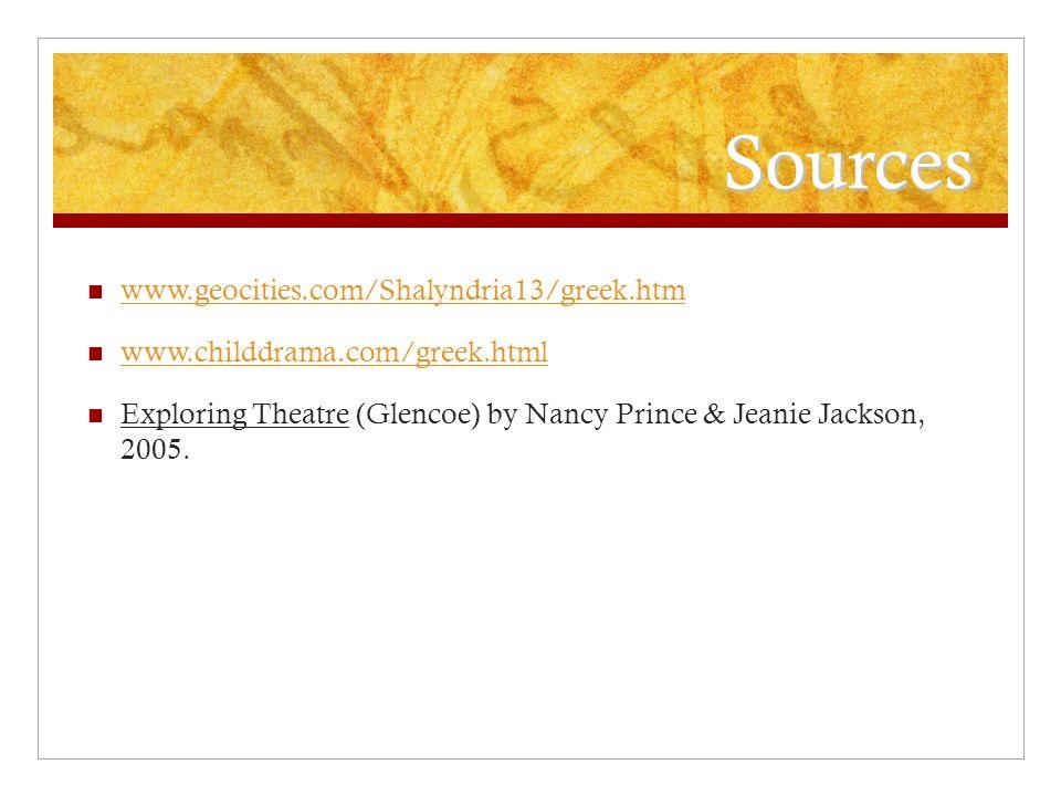 Sources www.geocities.com/Shalyndria13/greek.htm www.childdrama.com/greek.html Exploring Theatre (Glencoe) by Nancy Prince & Jeanie Jackson, 2005.