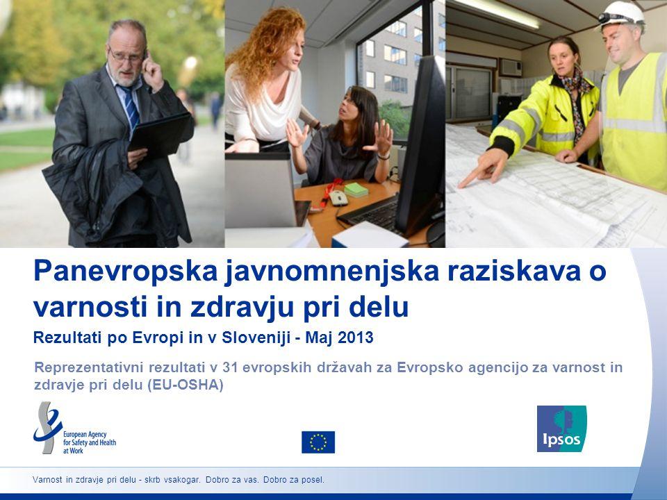 Panevropska javnomnenjska raziskava o varnosti in zdravju pri delu Rezultati po Evropi in v Sloveniji - Maj 2013 Reprezentativni rezultati v 31 evropskih državah za Evropsko agencijo za varnost in zdravje pri delu (EU-OSHA) Varnost in zdravje pri delu - skrb vsakogar.