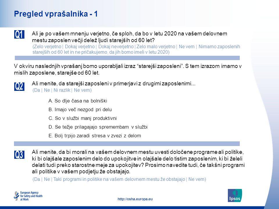 4 http://osha.europa.eu Pregled vprašalnika - 1 Ali je po vašem mnenju verjetno, če sploh, da bo v letu 2020 na vašem delovnem mestu zaposlen večji delež ljudi starejših od 60 let.