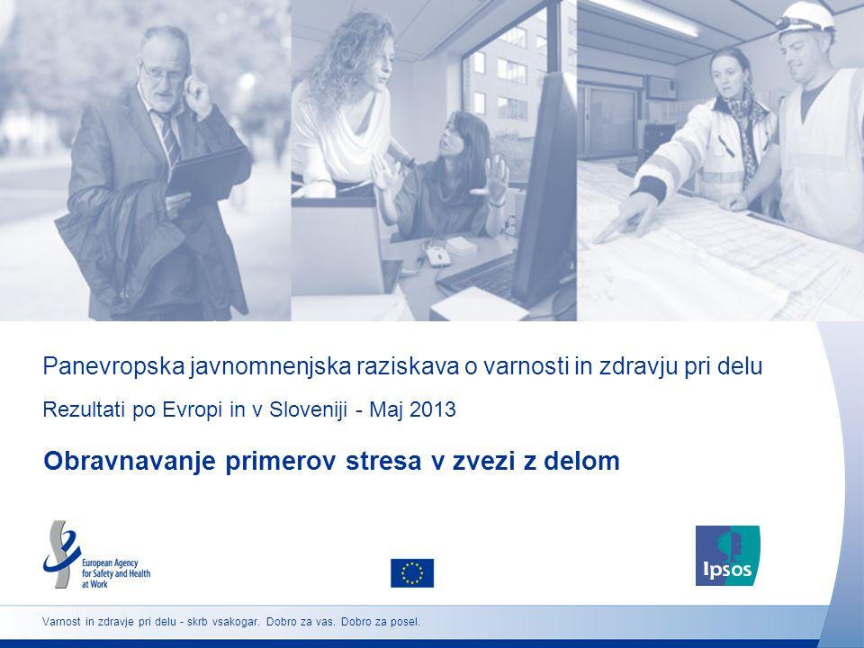 Panevropska javnomnenjska raziskava o varnosti in zdravju pri delu Rezultati po Evropi in v Sloveniji - Maj 2013 Obravnavanje primerov stresa v zvezi z delom Varnost in zdravje pri delu - skrb vsakogar.