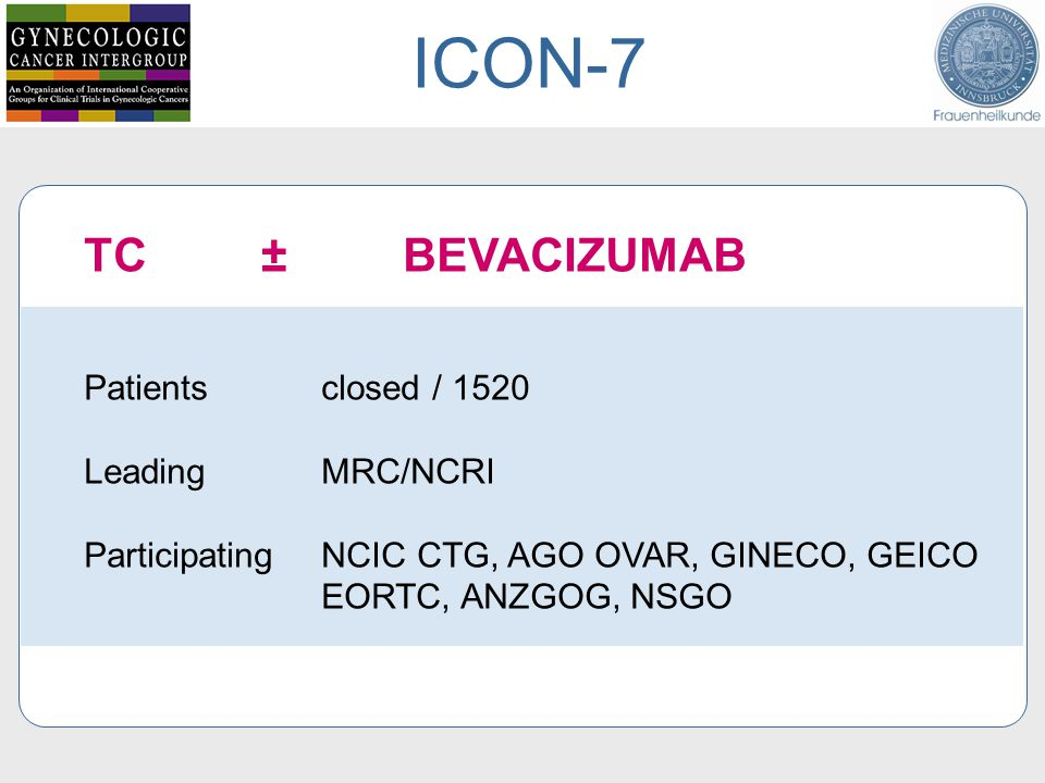 TC ± BEVACIZUMAB Patients closed / 1520 Leading MRC/NCRI Participating NCIC CTG, AGO OVAR, GINECO, GEICO EORTC, ANZGOG, NSGO ICON-7