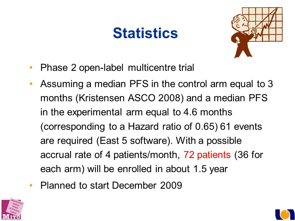 Statistics Phase 2 open-label multicentre trial Assuming a median PFS in the control arm equal to 3 months (Kristensen ASCO 2008) and a median PFS in the experimental arm equal to 4.6 months (corresponding to a Hazard ratio of 0.65) 61 events are required (East 5 software).