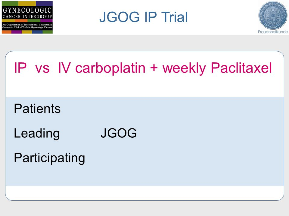 IP vs IV carboplatin + weekly Paclitaxel Patients Leading JGOG Participating JGOG IP Trial