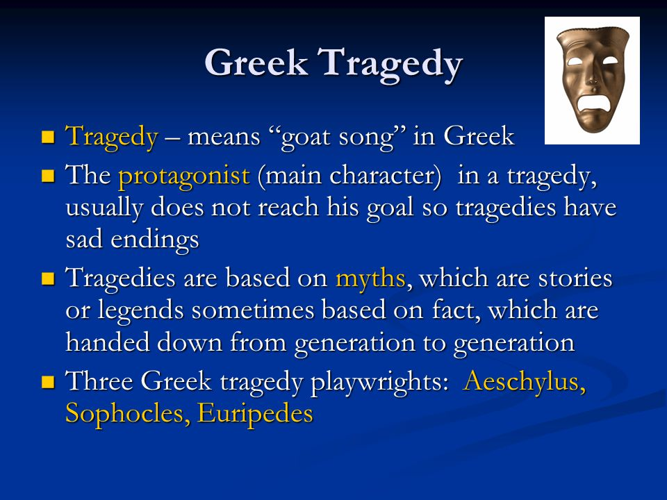 Thespis Greek tragic playwright Greek tragic playwright Is credited with transforming the dithyramb into tragedy Is credited with transforming the dithyramb into tragedy Added the first actor (hypokrite) to the play Added the first actor (hypokrite) to the play Hypokrite – means an actor speaking behind a mask Hypokrite – means an actor speaking behind a mask Thespians (actors) are named for Thespis Thespians (actors) are named for Thespis