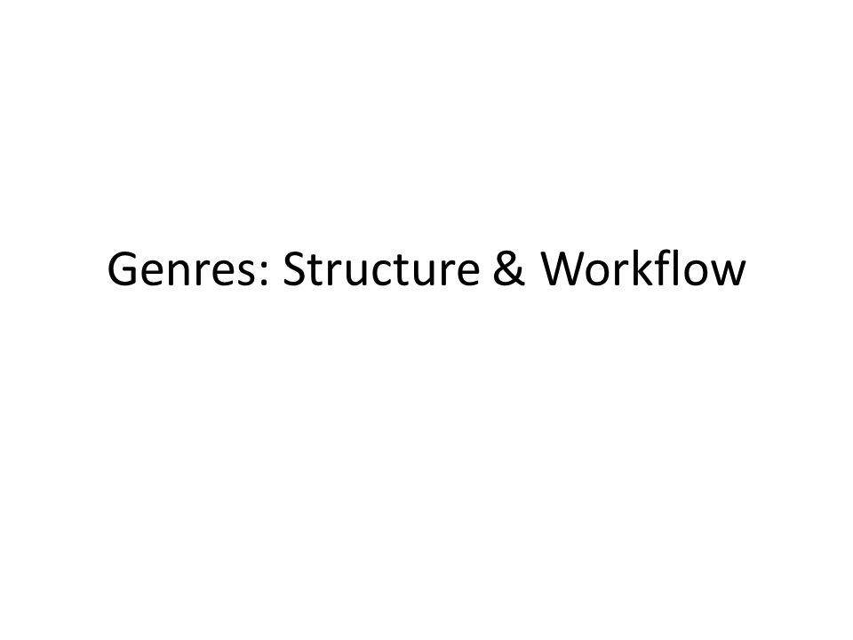 Genres: Structure & Workflow