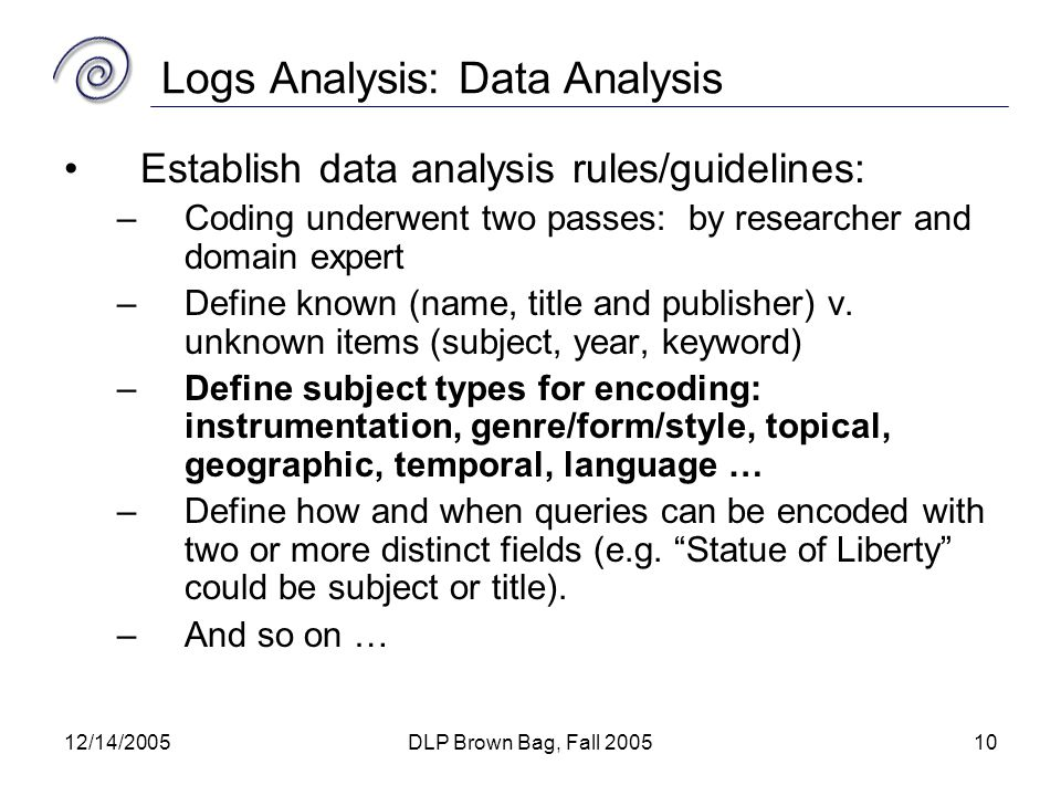 12/14/2005DLP Brown Bag, Fall 200510 Logs Analysis: Data Analysis Establish data analysis rules/guidelines: –Coding underwent two passes: by researcher and domain expert –Define known (name, title and publisher) v.