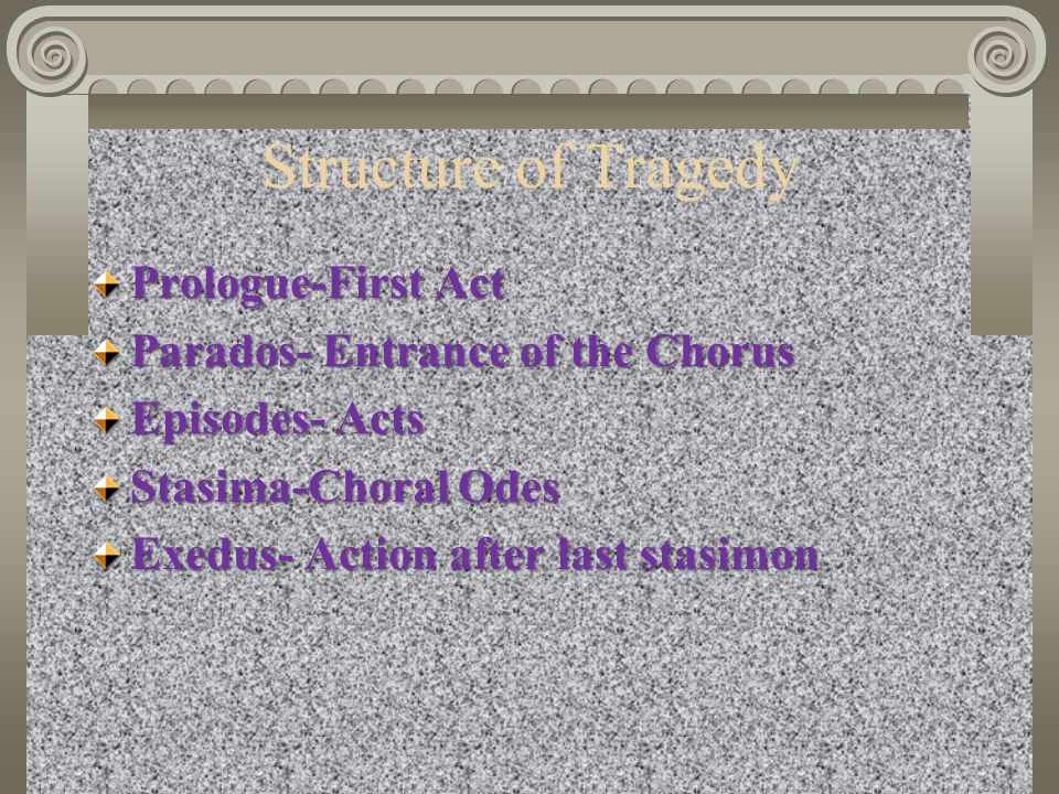 Structure of Tragedy Prologue-First Act Parados- Entrance of the Chorus Episodes- Acts Stasima-Choral Odes Exedus- Action after last stasimon