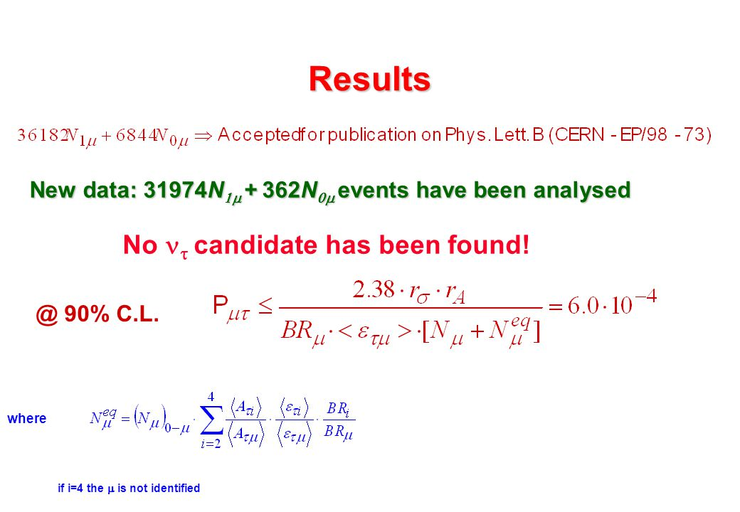 Results New data: 31974N  +  362N  events have been analysed No   candidate has been found! where if i=4 the  is not identified @ 90% C.L.