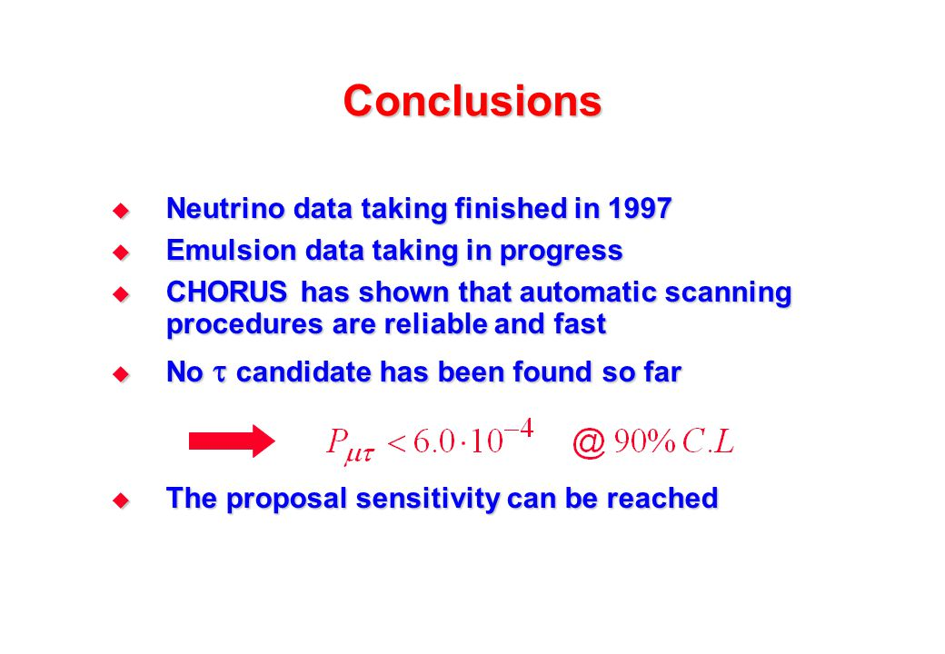Conclusions  Neutrino data taking finished in 1997  Emulsion data taking in progress  CHORUS has shown that automatic scanning procedures are relia