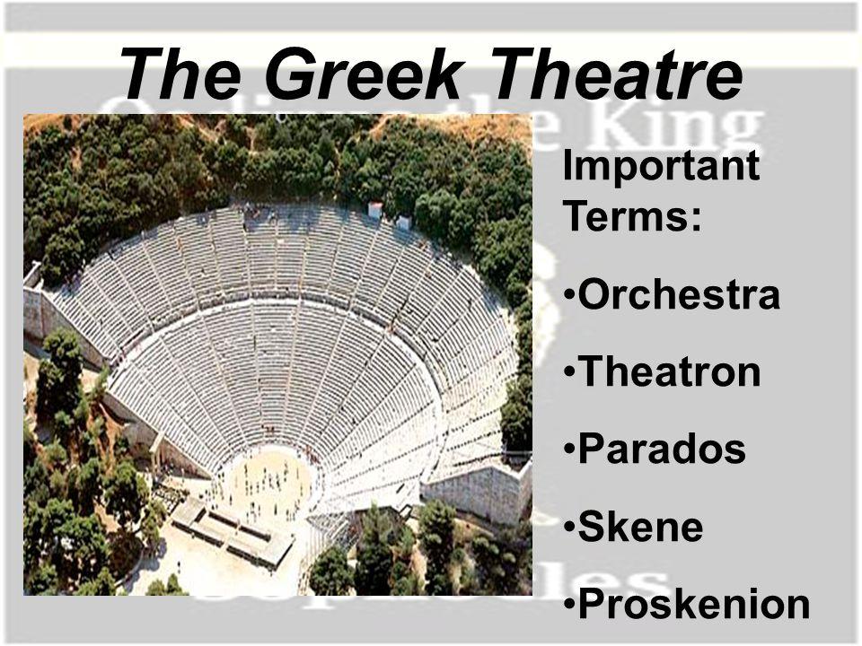 The Greek Theatre Important Terms: Orchestra Theatron Parados Skene Proskenion