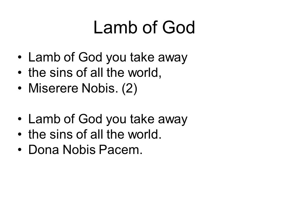 Lamb of God Lamb of God you take away the sins of all the world, Miserere Nobis.