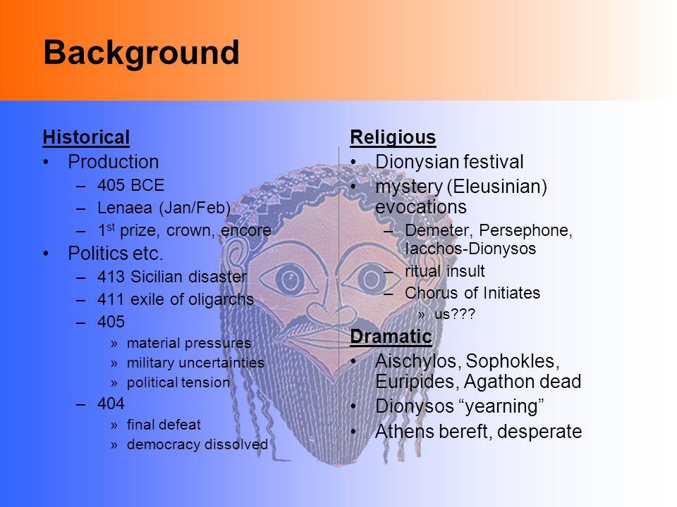 Background Historical Production –405 BCE –Lenaea (Jan/Feb) –1 st prize, crown, encore Politics etc.