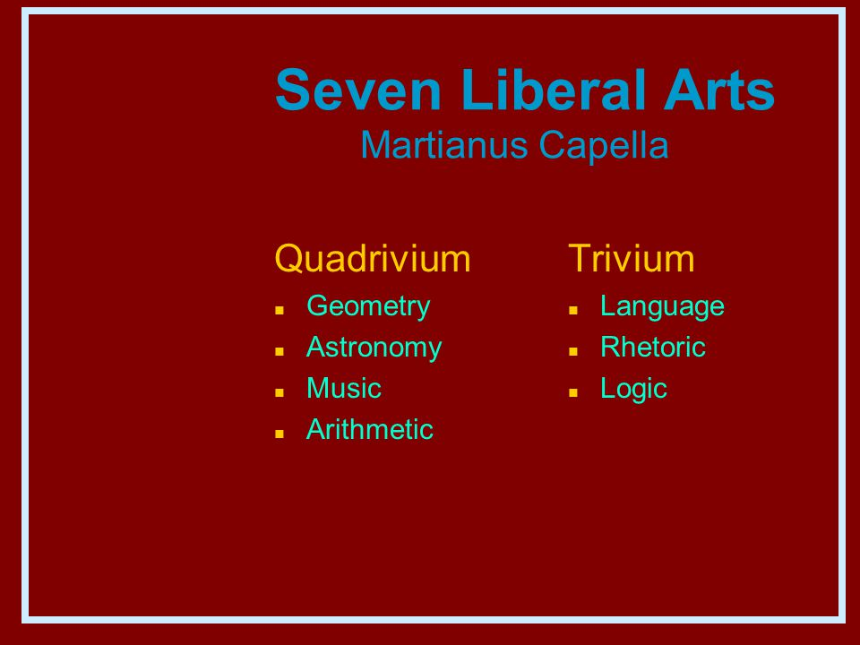 Seven Liberal Arts Martianus Capella Quadrivium n Geometry n Astronomy n Music n Arithmetic Trivium n Language n Rhetoric n Logic