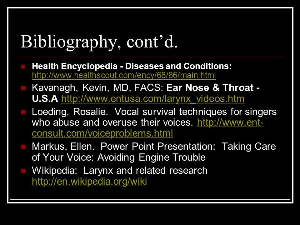 Bibliography, cont'd.
