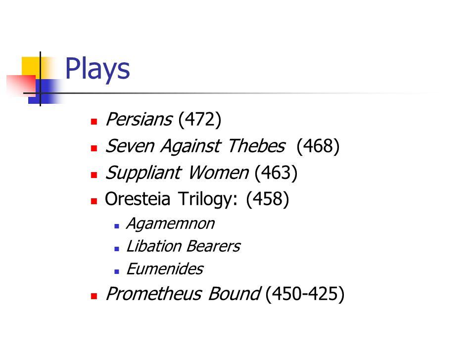 Plays Persians (472) Seven Against Thebes (468) Suppliant Women (463) Oresteia Trilogy: (458) Agamemnon Libation Bearers Eumenides Prometheus Bound (450-425)
