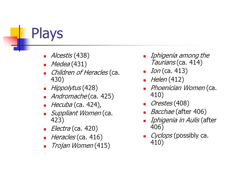 Plays Alcestis (438) Medea (431) Children of Heracles (ca.