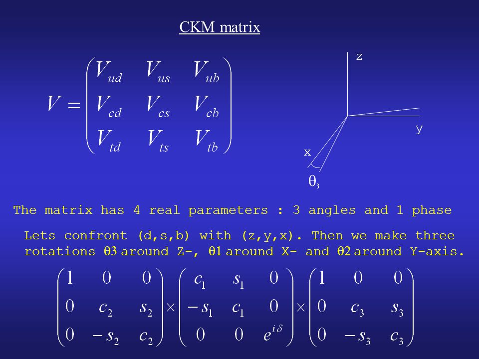 CKM matrix   x y z The matrix has 4 real parameters : 3 angles and 1 phase Lets confront (d,s,b) with (z,y,x).