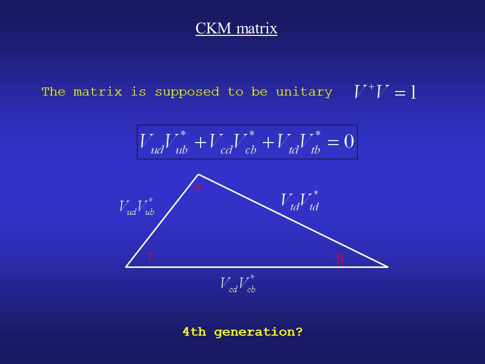 CKM matrix The matrix is supposed to be unitary    4th generation