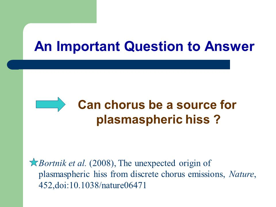 An Important Question to Answer Can chorus be a source for plasmaspheric hiss .