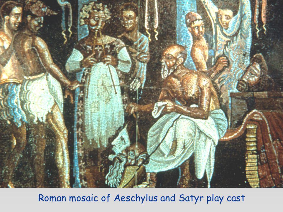 Roman mosaic of Aeschylus and Satyr play cast