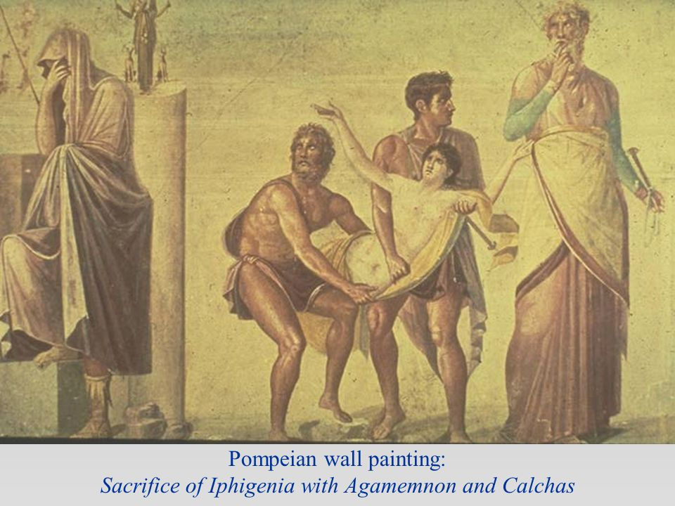 Pompeian wall painting: Sacrifice of Iphigenia with Agamemnon and Calchas