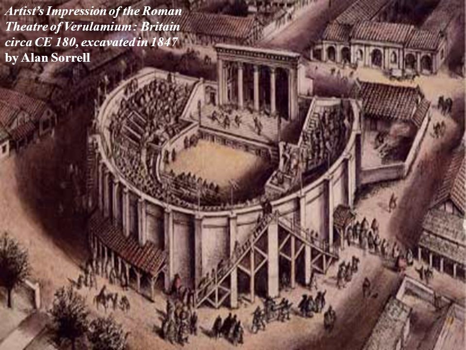 Roman Theatre Design  Skene becomes scaena – joined with audience to form one architectural unit  S tages raised to five feet, 20-40 feet deep, 100- 300 feet long,  3-5 doors in rear wall and at least one in the wings  scaena frons – façade of the stage house – had columns, niches, porticoes, statues – painted  stage was covered with a roof  trap doors were common  Orchestra becomes half-circle  Paradoi become vomitorium into orchestra and audience