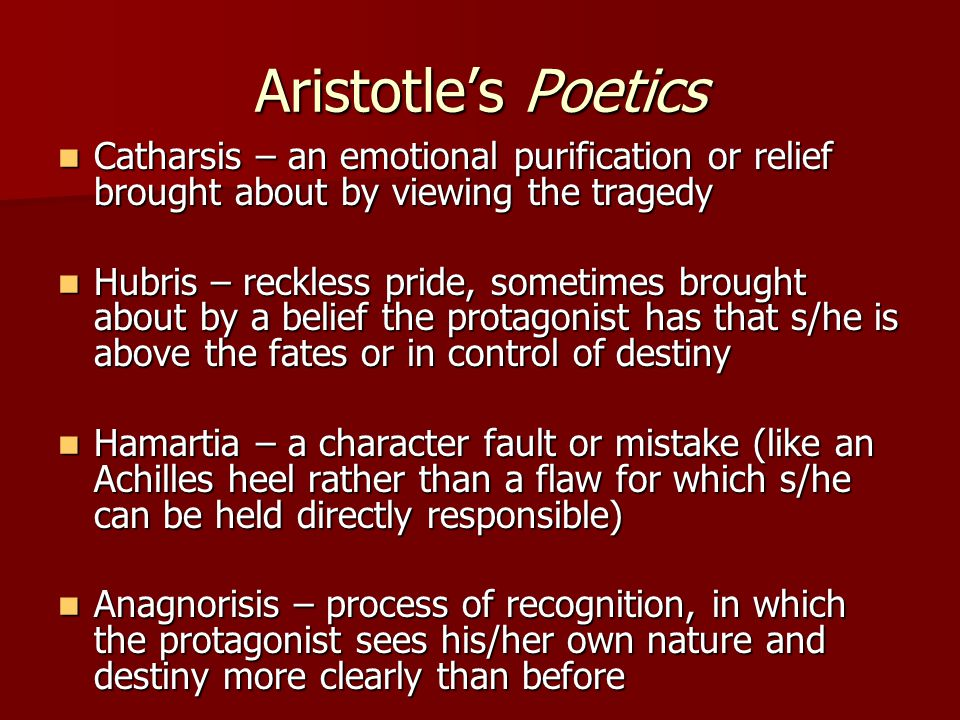 Aristotle's Poetics ElementsofDrama Six elements of tragedy Six elements of tragedy In Aristotle's order of importance In Aristotle's order of importance –Subject Matter  Plot  Character  Thought –Language and Performance  Diction  Song  Spectacle