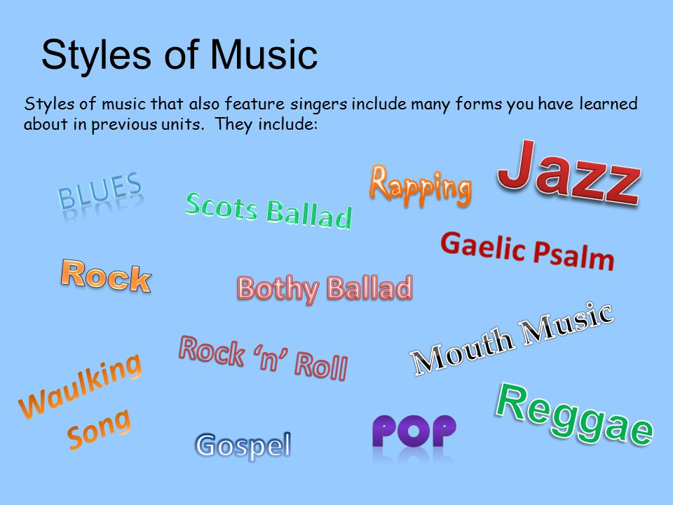 Styles of Music Styles of music that also feature singers include many forms you have learned about in previous units. They include: