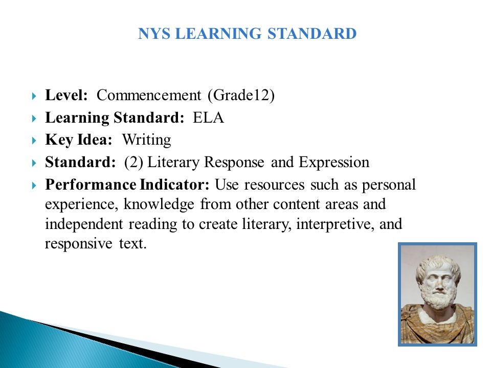  Level: Commencement (Grade12)  Learning Standard: ELA  Key Idea: Writing  Standard: (2) Literary Response and Expression  Performance Indicator: