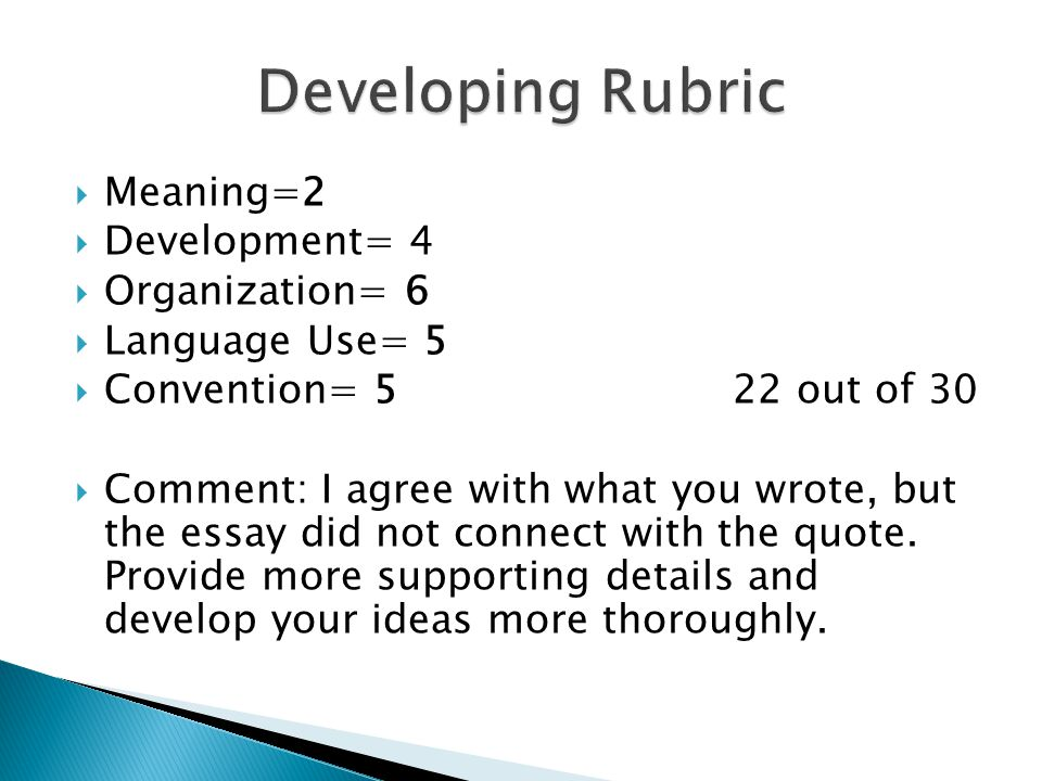 Meaning=2  Development= 4  Organization= 6  Language Use= 5  Convention= 5 22 out of 30  Comment: I agree with what you wrote, but the essay di