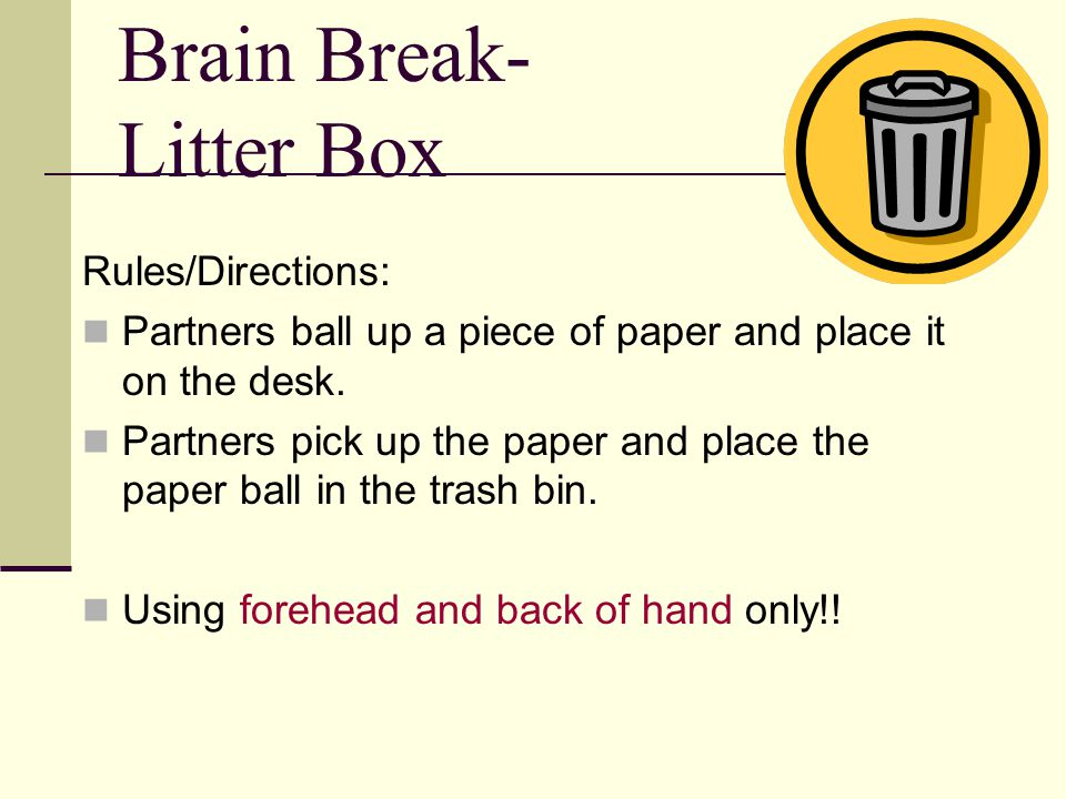 Brain Break- Litter Box Rules/Directions: Partners ball up a piece of paper and place it on the desk. Partners pick up the paper and place the paper b