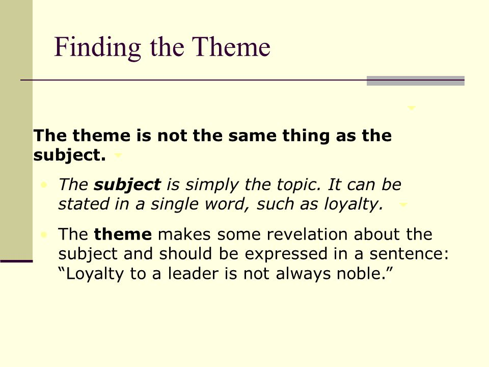 The theme is not the same thing as the subject. The subject is simply the topic. It can be stated in a single word, such as loyalty. The theme makes s