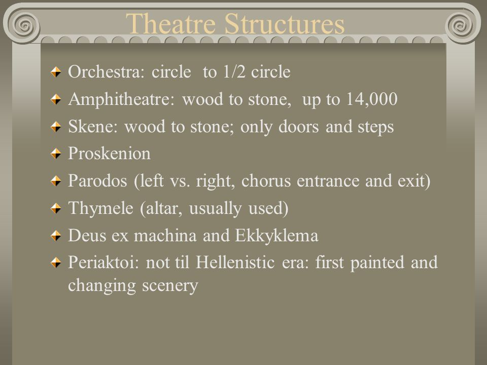 Theatre Structures Orchestra: circle to 1/2 circle Amphitheatre: wood to stone, up to 14,000 Skene: wood to stone; only doors and steps Proskenion Par