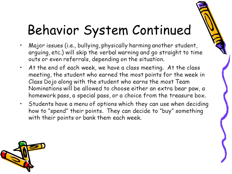 Behavior System Continued Students are awarded positive points on Class Dojo for positive behavior/doing his or her job throughout the day.