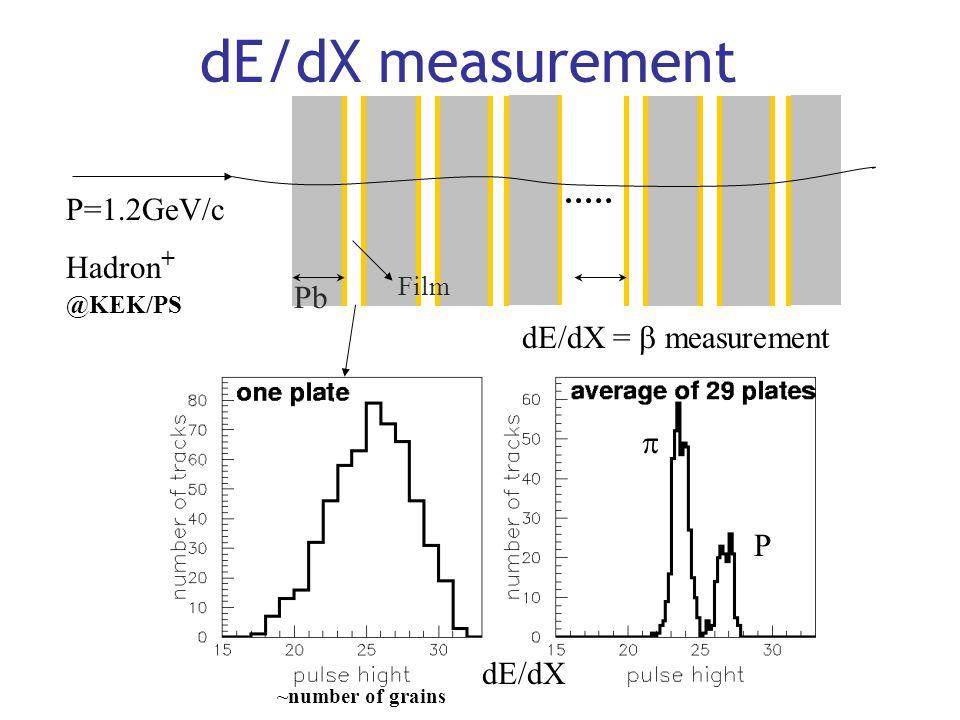 dE/dX measurement Pb Film P=1.2GeV/c Hadron + @KEK/PS dE/dX dE/dX =  measurement ~number of grains  P