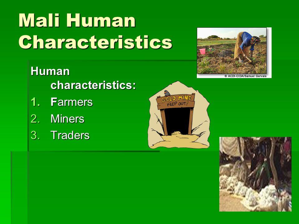 Mali Human Characteristics Human characteristics: 1.Farmers 2.Miners 3.Traders