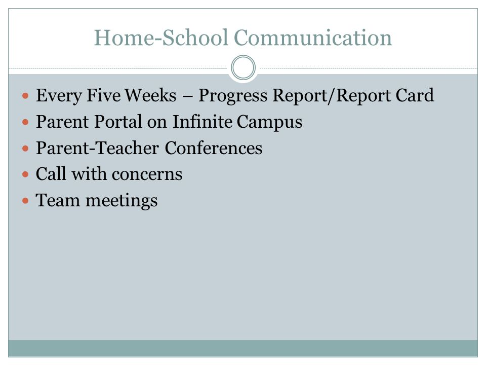 Home-School Communication Every Five Weeks – Progress Report/Report Card Parent Portal on Infinite Campus Parent-Teacher Conferences Call with concerns Team meetings