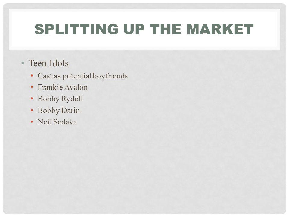 SPLITTING UP THE MARKET Teen Idols Cast as potential boyfriends Frankie Avalon Bobby Rydell Bobby Darin Neil Sedaka