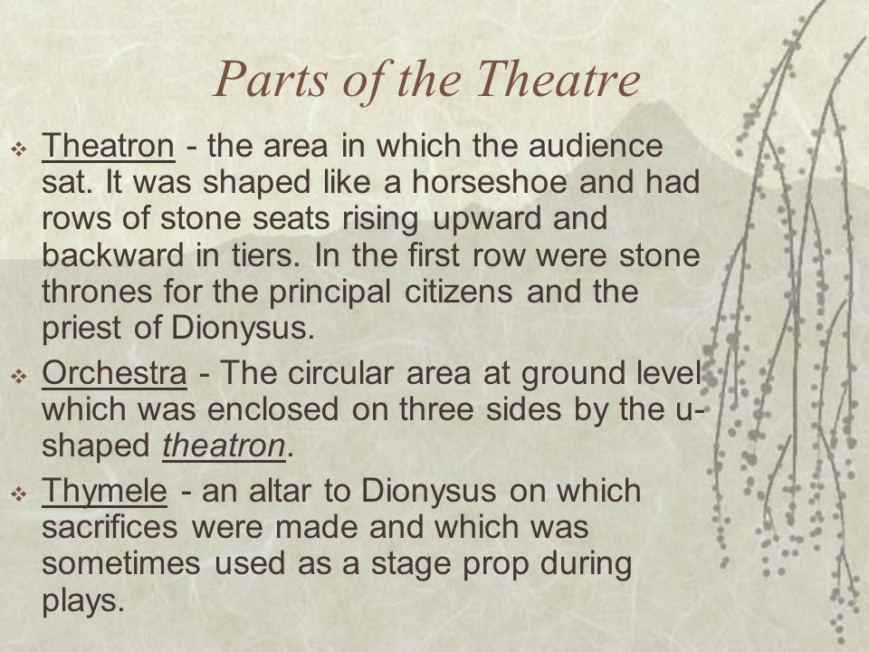 Parts of the Theatre  Theatron - the area in which the audience sat.