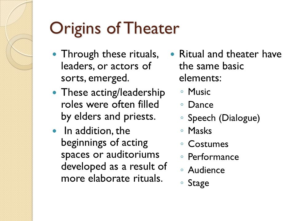 Origins of Theater Through these rituals, leaders, or actors of sorts, emerged.