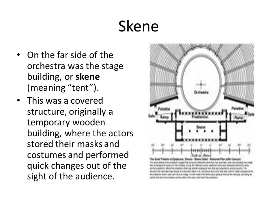 Skene On the far side of the orchestra was the stage building, or skene (meaning tent ).