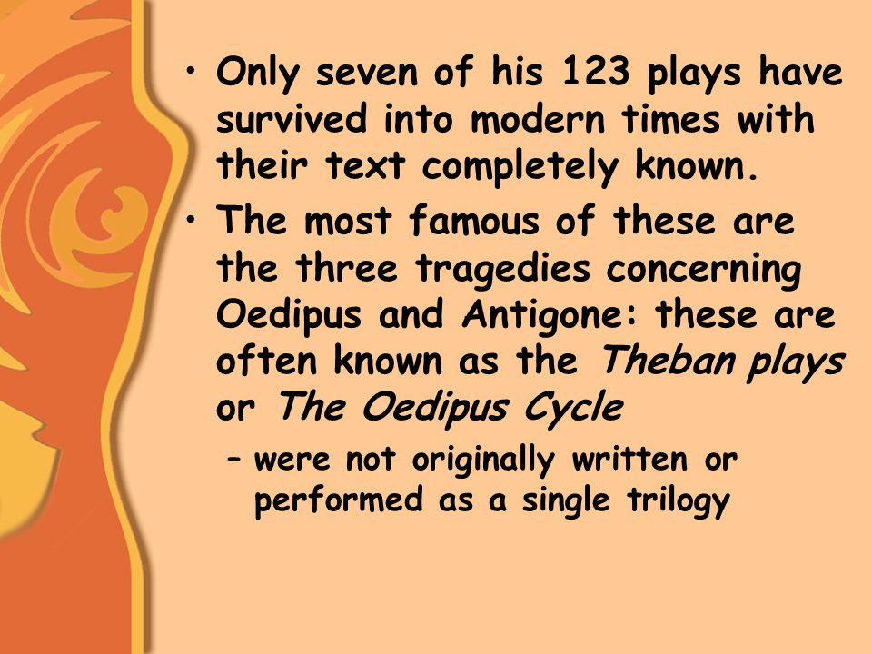 Oedipus promises to look for the murderer as though he were looking for his own father's killer.