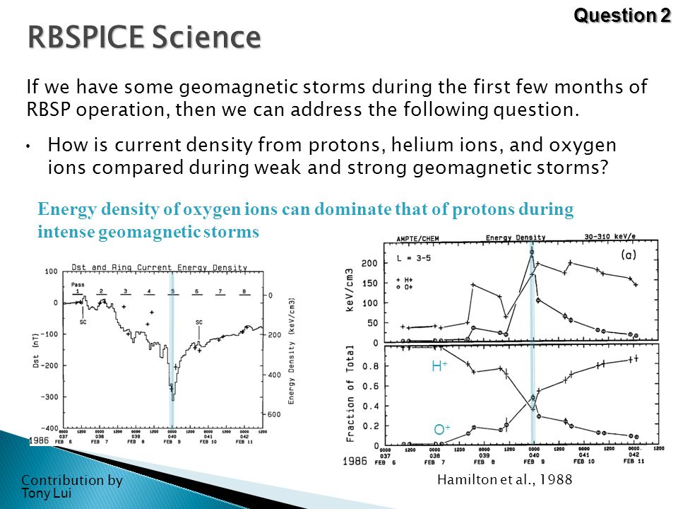 RBSPICE Science If we have some geomagnetic storms during the first few months of RBSP operation, then we can address the following question.